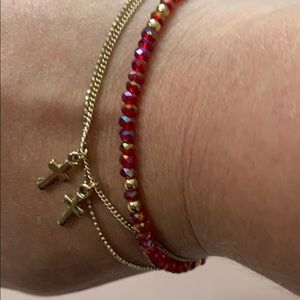 Dainty Gold Beaded Bracelet with Cross Charms